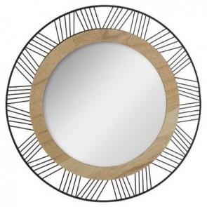 Espejo redondo de metal y made
