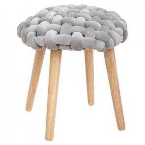TABOURET TRICOT GRIS COSY