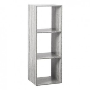 ETAGERE BOIS 3 CASES MIX GRIS