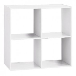 ETAGERE BOIS 4 CASES MIX BLANC