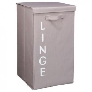 PANIER LINGE GM ECRITURE TAUPE