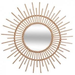 espejo de ratán d76  beige med