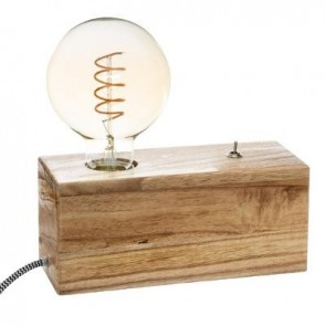 lámpara de madera de bulbo