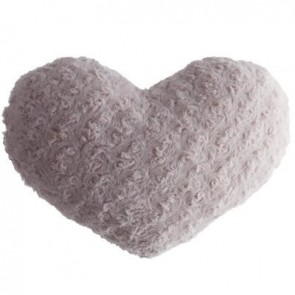 COUSSIN COEUR BOUCLE ROSE28X36