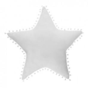 COUSSIN ETOILE POMPOMS BLANC